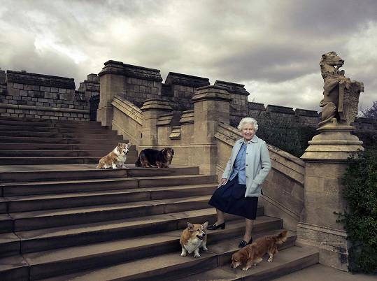 Alžběta II. se svými psími miláčky.