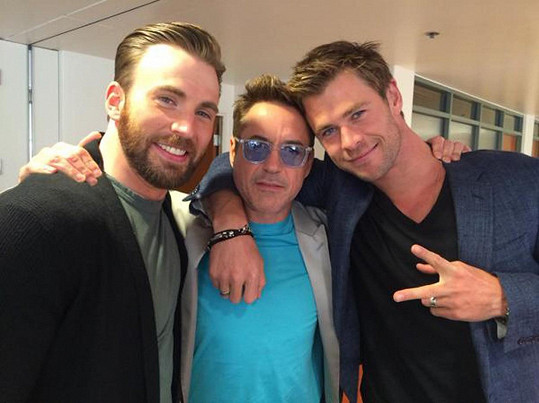 Chris Evans, Robert Downey Jr. a Chris Hemsworth v civilu