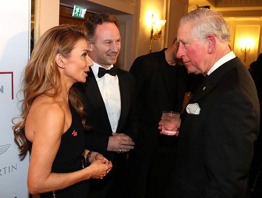 Dnes je z Geri distingovaná žena, na snímku s princem a s manželem Christianem Hornerem.