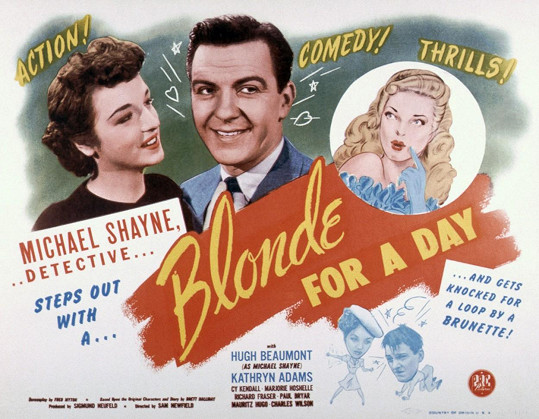 Kathryn Adams a Hugh Beaumont na plakátu k filmu Blonde for a Day (1946)