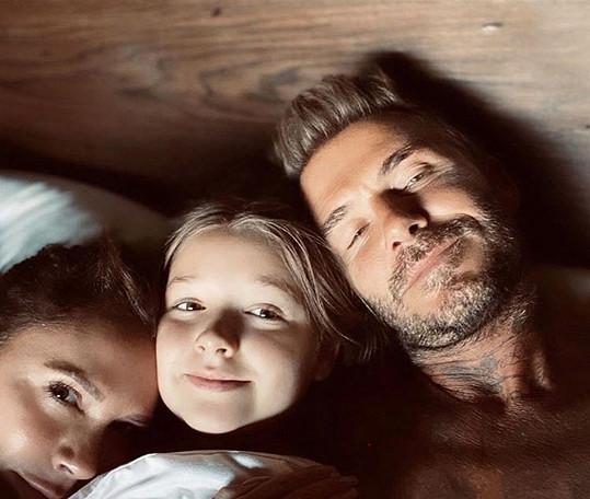 David Beckham s manželkou Victorií a jejich nejmladší dcerou Harper