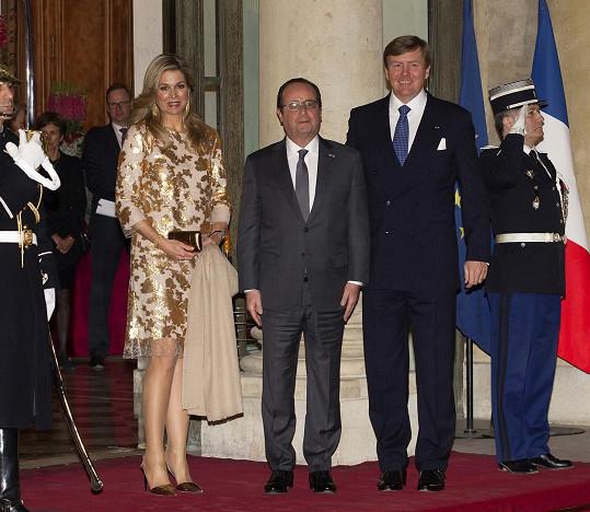 Královna Máxima, François Hollande a král Vilém Alexandr