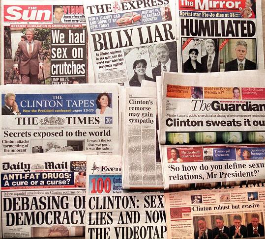Prezidentův sexuální skandál byl mediální senzací číslo jedna.