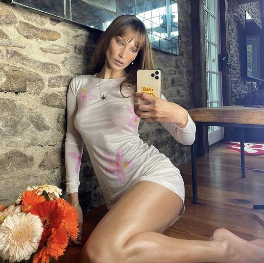 Sdílela sérii selfie v průsvitných šatech.