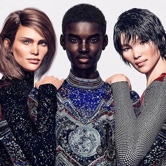 Francouzský módní dům Balmain vsadil v kampani na digitání modelky.