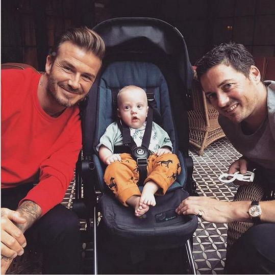 Sailor s tatínkem a kmotrem Davidem Beckhamem