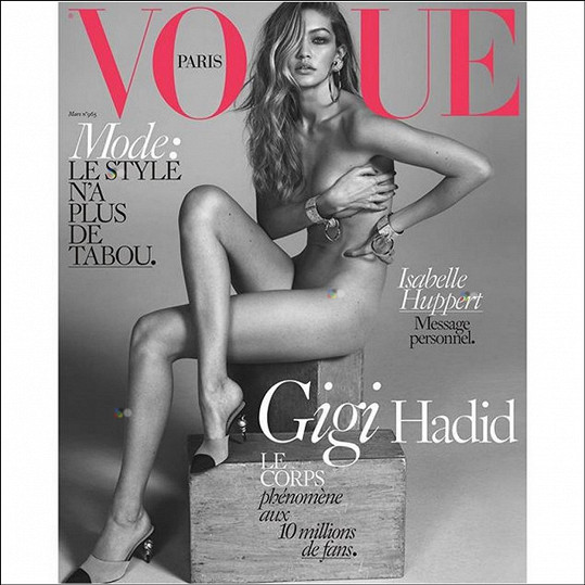 Gigi se nebojí svléknout ani na obálku módního časopisu.