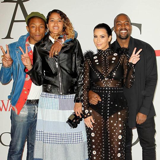 Pharrell s manželkou a Kim Kardashian s Kanyem Westem