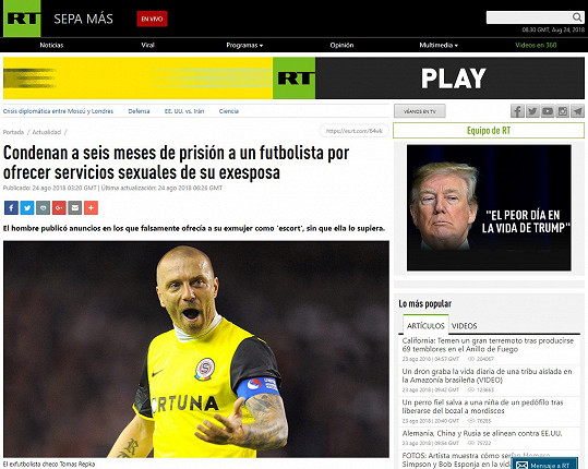 Titulek ve španělštině má Řepka i na webu ruské vícejazyčné televize Russian Today.