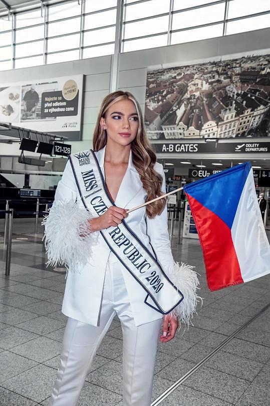 Veronika při odletu na světovou soutěž