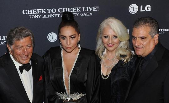 Lady Gaga s rodiči a Tonym Bennettem