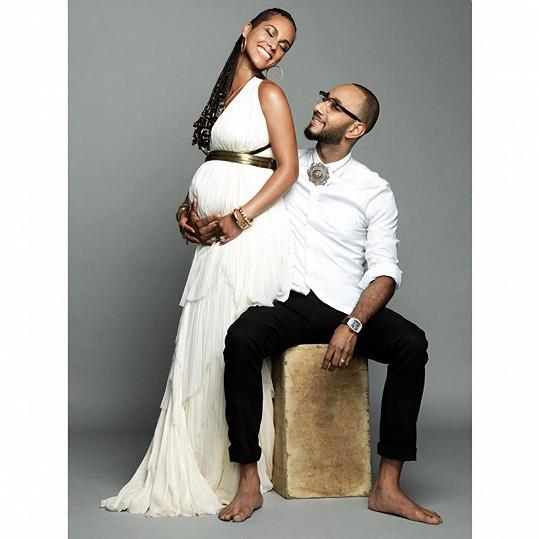 Alicia Keys s manželem v době prvního těhotenství
