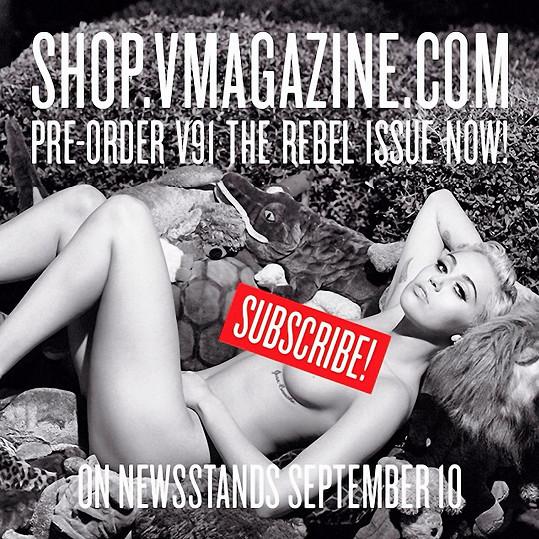 Miley Cyrus se svlékla pro titulku magazínu V