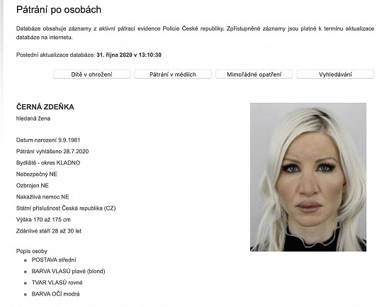 Zdeňka Černá alias Lulu je v databázi hledaných osob.
