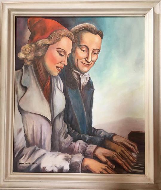 Tento obraz s Oldřichem Novým a Anny Ondrákovou jde do aukce.