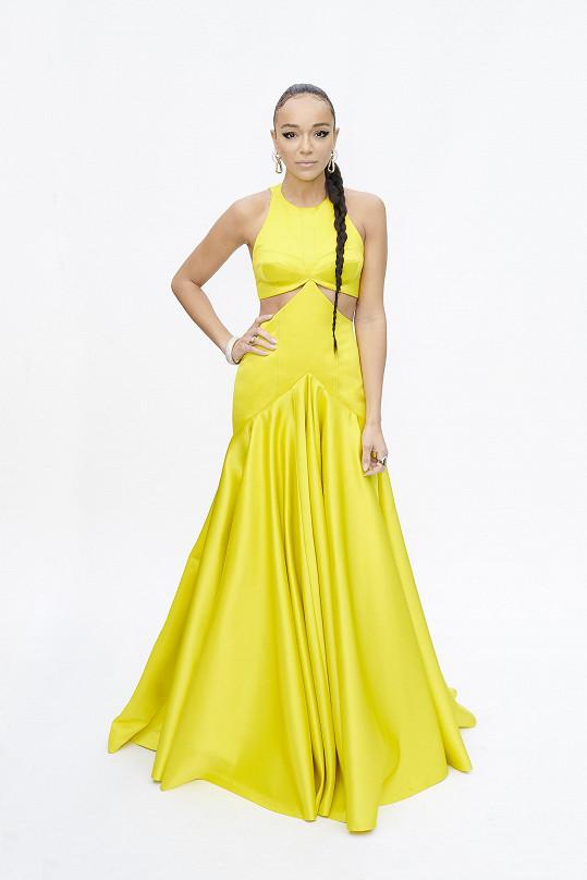 Ashley Madekwe dala přednost barvám. Zářivě žluté šaty pro ni na míru vytvořili v módním domě Louis Vuitton. Výrazný silný look podpořila vlasovým stylingem ve formě copu a výraznými šperky Pomellato.