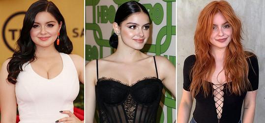 Ariel Winter před zmenšením prsou (vlevo), po zmenšení a zhubnutí pár kil (uprostřed) a nyní.