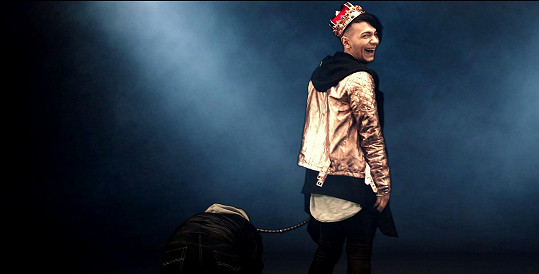 Ve videu si vodí na vodítku skinheada.