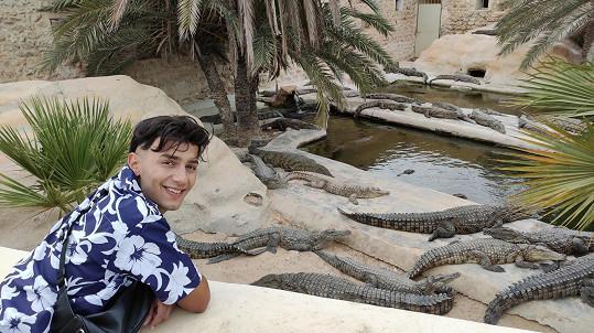Pobyt na Džerbě pojal zpěvák částečně jako dovolenou. Nevynechal například návštěvu krokodýlí farmy.