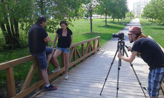 Mirek s Lenkou při natáčení