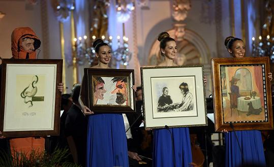 Během galavečera se dražily nejen obrazy Karla Gotta.