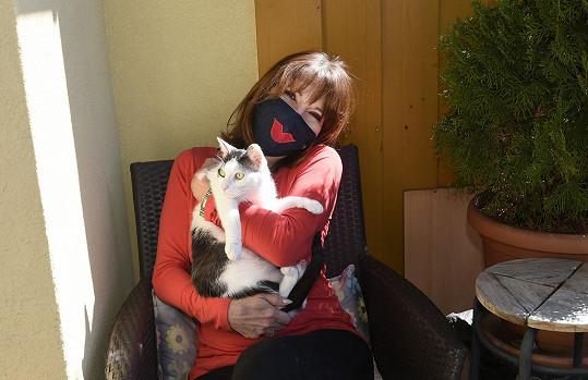 Společnost herečce dělá kočka Zoey.