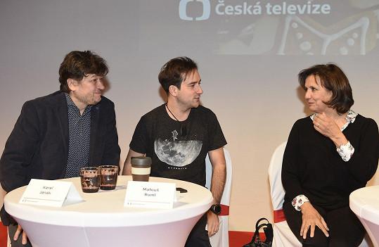 Karel Janák s Veronikou Freimanovou a Matoušem Rumlem, kteří si v pohádce zahrají.