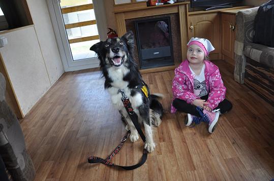 Malá Romanka s asistenčním psem Sofinkou