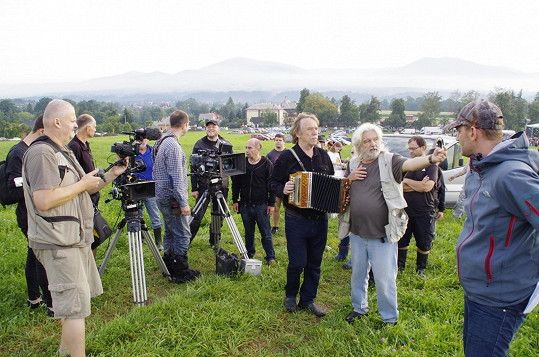 Při natáčení s režisérem Dušanem Rapošem