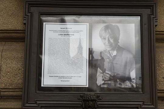 Poslední rozloučení s Lubou Skořepovou se nekonalo na jevišti Národního divadla...