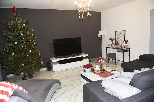 Obývacímu pokoji vévodí stromeček.
