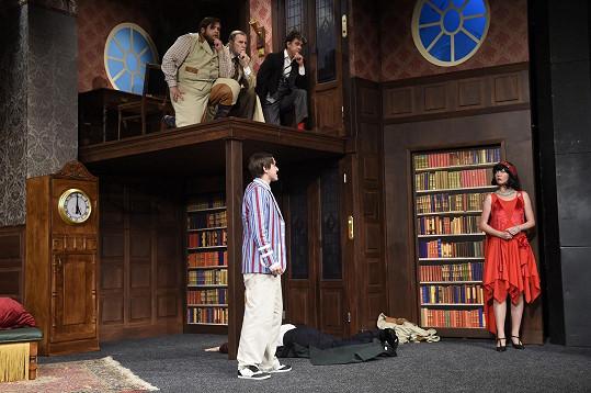Karel při zkoušce komedie Hra, která se zvrtla