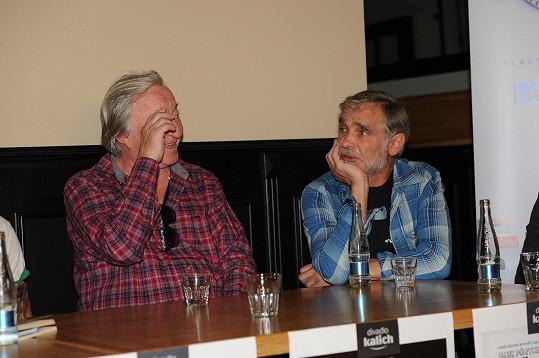 Kaiser a Lábus na tiskové konferenci divadla Kalich.