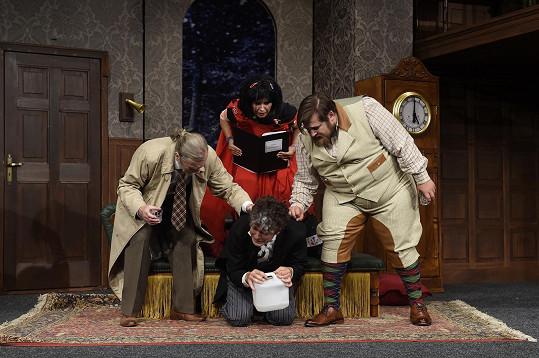Herečka na zkoušce v Divadle Bez zábradlí