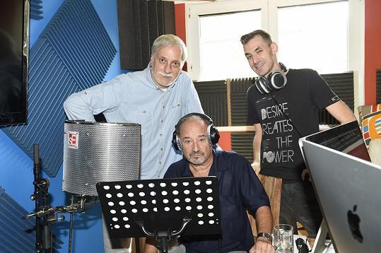 Viktor Preiss s režisérem Zdeňkem Zelenkou a skladatelem Danem Bartákem