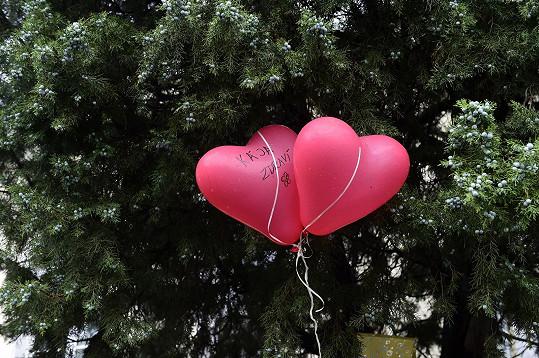 Zdraví Karlu Gottovi fanoušci přáli i prostřednictvím balónků ve tvaru srdce, které přivázali na plot...