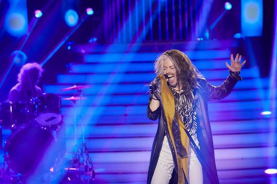 Hana Holišová skvěle napodobila živé vystoupení kapely Aerosmith.