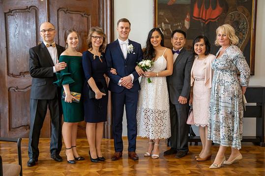 Svatební foto Tomáše a Tammy. Obřad se konal 14. března.