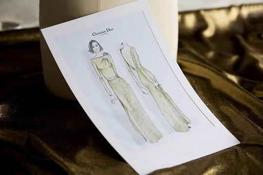 Tento jedinečný haute couture výtvor byl výslovně určený pro Marion Cotillard. Tomu napovídá i skica.