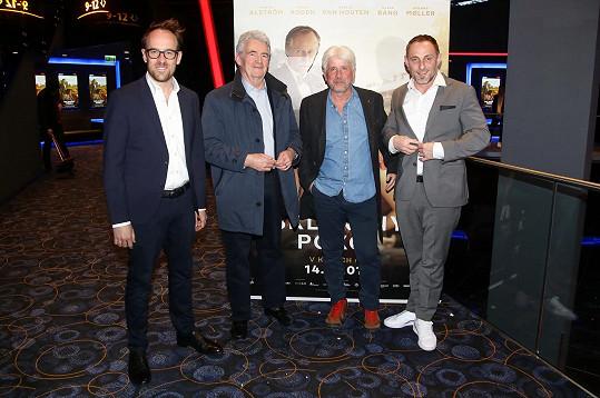 Slavnostní premiéry se zúčastnili režisér Julius Ševčík, producent Rudolf Biermann, autor knižní předlohy Simon Mawer a dánský herec Roland Moller (zleva)