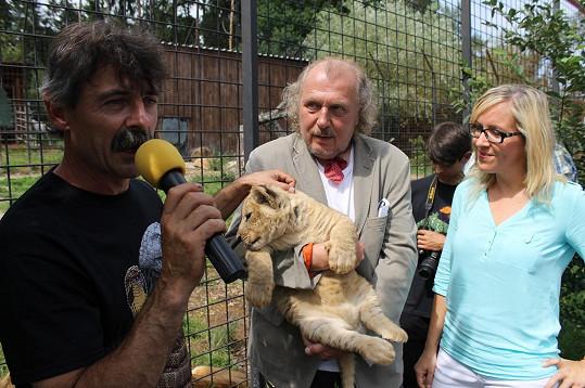 Čtyřicáté lví mládě ve dvorecké zoo se svými kmotry Kristianem Kodetem a Veronikou Pohankovou
