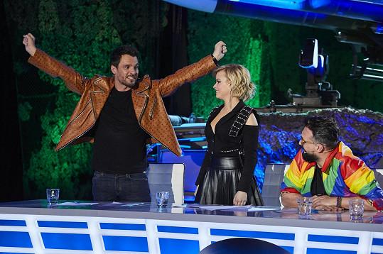 Patricie v SuperStar s kolegy Leošem Marešem a Mariánem Čekovským (vpravo)