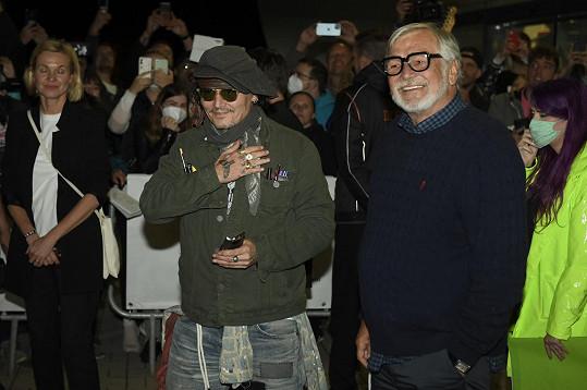Johnny Depp a prezident filmového festivalu Jiří Bartoška.