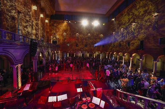 Recepce se konala v Modrém sále stockholmské radnice.