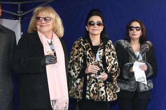 Iva Hüttnerová, Lucie Bílá a Michaela Kuklová na zahájení výstavy