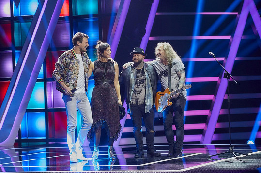 Koučové show The Voice Česko Slovensko - Vojta Dyk, Jana Kirschner, Kali a Pepa Vojtek (zleva)