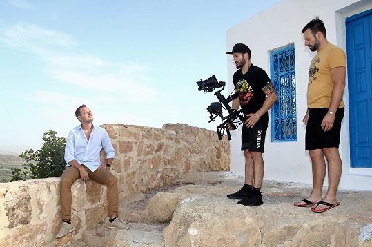 Jan Kříž při natáčení videoklipu