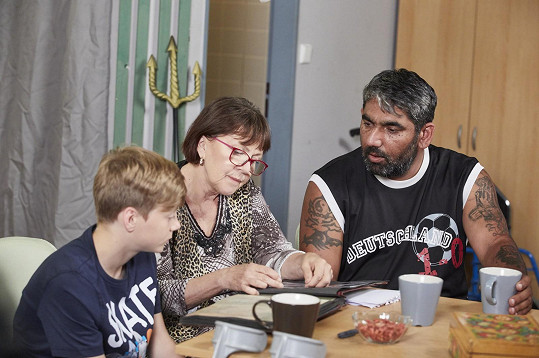 Lenka Termerová se seriálovým synem a vnukem