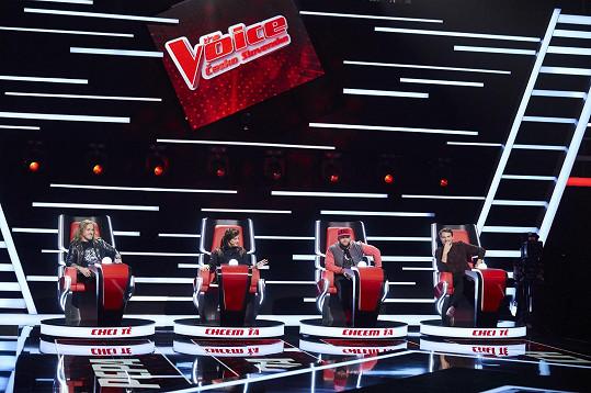 Koučové pořadu The Voice Česko Slovensko - Pepa Vojtek, Jana Kirschner, Kali a Vojta Dyk (zleva)