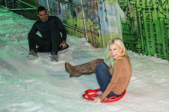Eva to na umělém sněhu pořádně rozjela.